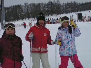 3人でスキー